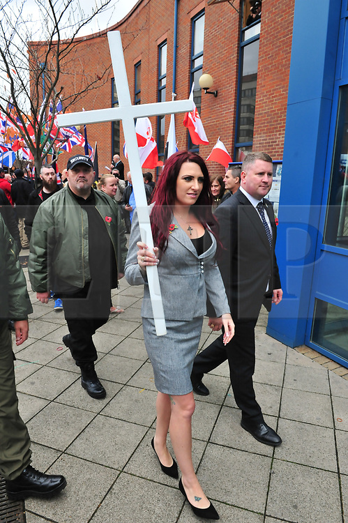 &copy; Licensed to London News Pictures.04/11/2017.<br /> BROMLEY, UK.<br /> Britain First leaders going to sign in on bail.<br /> Britain First hold a Persecuted Patriots Rally outside Bromley Police Station, Bromley South.Party Leader Paul Golding and his deputy Jayda Fransen have to sign on bail every Saturday 2pm at Bromley Police station.<br /> Photo credit: Grant Falvey/LNP