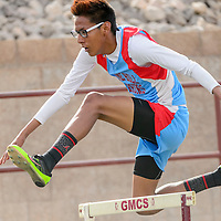 042915  Adron Gardner/Independent<br /> <br /> Pine Hill Warrior Trevor Joe clears the first hurdle during the district 1-2A track meet in Ramah Friday.