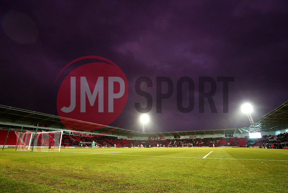 A general view of The Keepmoat Stadium under a dramatic sky - Mandatory by-line: Robbie Stephenson/JMP - 27/01/2018 - FOOTBALL - The Keepmoat Stadium - Doncaster, England - Doncaster Rovers v Bristol Rovers - Sky Bet League One