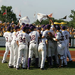 09 June 2008:  LSU huddle together to pump up the crowd as they prepared to take of the UC Irvine Anteaters. The LSU Tigers advanced to the College World Series with a 21-7 victory over the UC Irvine Anteaters in game three of the NCAA Baseball Baton Rouge Super Regional Alex Box Stadium in Baton Rouge, LA..
