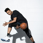 "Markelle Fultz at the North Laurel Community Center ahead of the NBA Draft, in Laurel, MD, on Monday, June 12, 2017. Fultz, 19, a 6'6"" point guard, played one year at the University of Washington and was drafted number one by the Philadelphia 76ers. He has a quote from Dr. Martin Luther King tatooed on his body. For The Boston Globe"