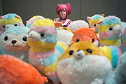 UNITED KINGDOM, London: 27-28 May 2017 A cosplay fan looks toward large display of Plushies for sale sit at a stall at the MCM London Comic Con.<br /> The comic convention, which will be visited by tens of thousands of comic book and cosplay fans, is being held at London's ExCel this weekend. Rick Findler / Story Picture Agency