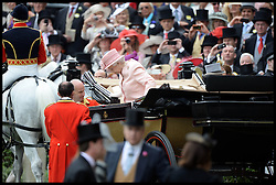 HM The Queen arrives in the Parade ring on the Opening day of Royal Ascot 2013 Ascot, United Kingdom<br /> Tuesday, 18th June 2013,<br /> Picture by Andrew Parsons / i-Images