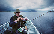 """Mayo County. Salmon fishing at """"Newport Country House"""". The Ghillies acts as guides, helping the fishermen."""