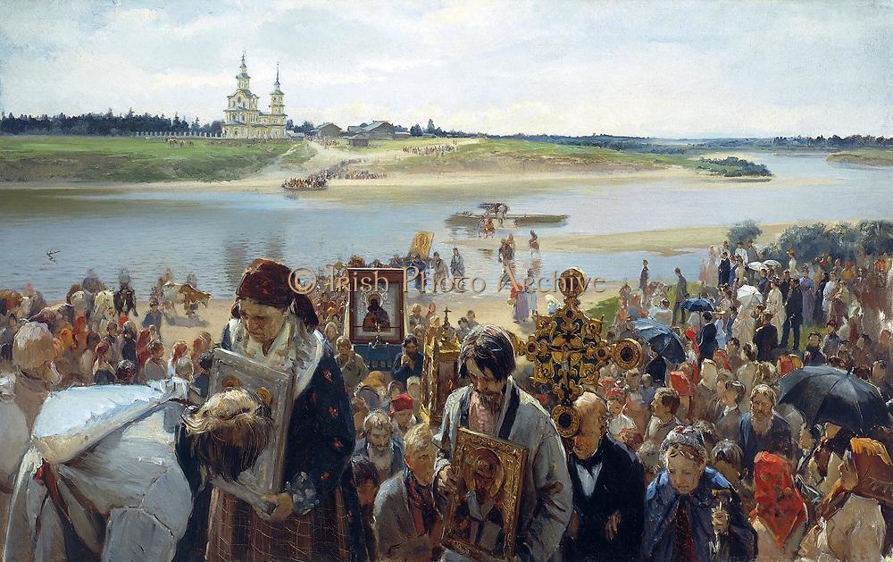 Illarion Michajlowitsch Prjanischnikow (Russian artist) The Easter procession 1893