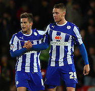 Picture by David Horn/Focus Images Ltd +44 7545 970036<br /> 14/12/2013<br /> Jermaine Johnson of Sheffield Wednesday and Connor Wickham of Sheffield Wednesday after Sky Bet Championship match at Vicarage Road, Watford.