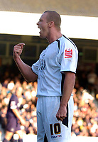 Photo: Alan Crowhurst.<br />Southend Utd v Swansea City. Coca Cola League 1.<br />12/11/2005. Lee Trundle celebrates his opener for Swansea in front of the Swansea fans.