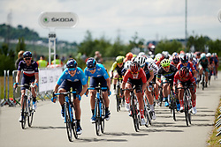 Sheyla Gutierrez Ruiz (ESP) in Fournier's wheel on the lead up to the sprint at Stage 2 of 2019 OVO Women's Tour, a 62.5 km road race starting and finishing in the Kent Cyclopark in Gravesend, United Kingdom on June 11, 2019. Photo by Sean Robinson/velofocus.com