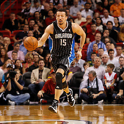 March 3, 2011; Miami, FL, USA; Orlando Magic small forward Hedo Turkoglu (15) drives down the court during the second quarter against the Miami Heat at the American Airlines Arena.    Mandatory Credit: Derick E. Hingle