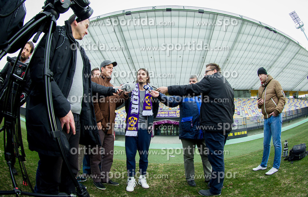 New comer Marko Suler of Maribor interviewed by journalists after the first practice session of NK Maribor after winter break on January 04, 2014 in Ljudski vrt, Maribor, Slovenia. Photo by Vid Ponikvar / Sportida