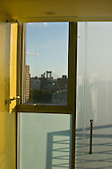 New York. elevated view on Manhattan  skyline view ; view,  from a room The Hotel on Rivington in Lower east side with a view on the city  New York, Manhattan - United states  / Vue sur Manhattan, chambre avec vue,  The Hotel on Rivington dans le lower east side avec vue sur la ville  Manhattan, New York - Etats-unis The Hotel on Rivington adr 107 Rivington Street  This 22-story, all glass structure with 360˚ unobstructed views offers a unique visitor experience including private outdoor space for most rooms, glass shower walls on the building exterior and spa services.