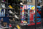 As the number of people dying with Covid-19 in hospitals in England rises by another 665 to 16,272, and the UK experiences further lockdown by the UK government due to the Coronavirus pandemic, the deserted streets, businesses and retailers including footwear brand Skechers on the corner of in Floral and James Streets in Covent Garden suffer further economic losses after forced closure, on 22nd April 2020, in London, England.