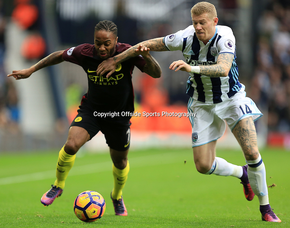 29 October 2016 - Premier League - West Bromwich Albion v Manchester City - Raheem Stirling of Manchester City (left) battles with James McClean of West Bromwich Albion (right) - Photo: Paul Roberts / Offside.