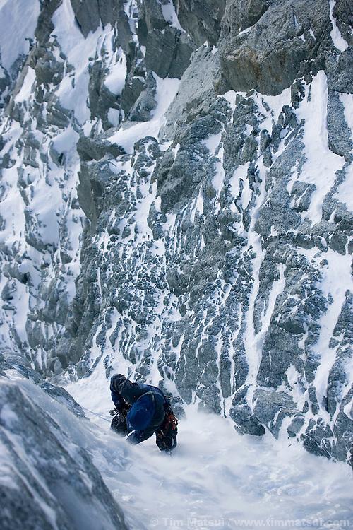 Climbing the Albonini-Gabaru on Mont Blanc du Tacul, Chamonix France
