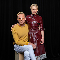 "Paul Bettany, left, and Emilia Clarke pose for a portrait at the ""Solo: A Star Wars Story"" Portrait Session on Saturday, May 12, 2018, in Pasadena, CA. (Photo by Willy Sanjuan/Invision/AP)"
