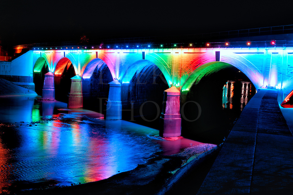This illuminated bridge in downtown Johnstown PA is beautifully lit full length every night by a colored LED light display. The colors change slowly and different ones are used for an occasion, such as green and red for Christmas and black and gold for Steelers football games.&nbsp;<br /> <br /> A schedule of upcoming display colors is actually posted online. If you live nearby, come to see this unique bridge. It's quite a sight, especially when a Norfolk Southern Railroad train goes across the top at speed on this mainline to Chicago, formerly the Pennsylvania Railroad main back in the day.<br /> <br /> Monthly Newsletter sign-up at the Dierks Photo page on Facebook.