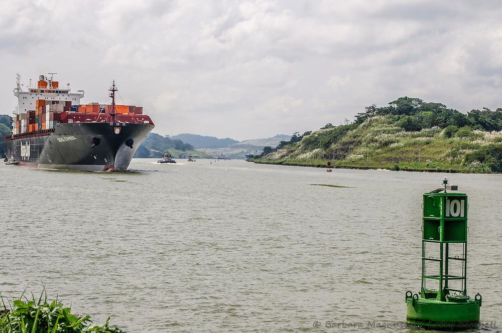 Seoul Express container ship on Panama Canal; Gamboa, Panama