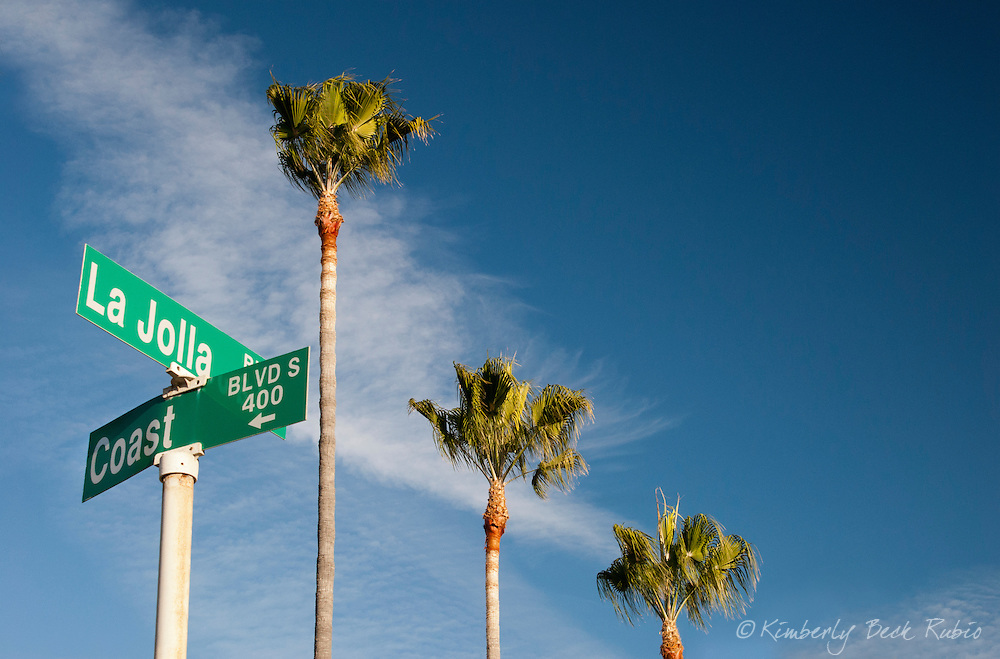 La Jolla Boulevard @ Coast Boulevard street sign with palm trees, in La Jolla, California.