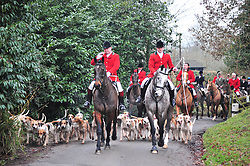 © Licensed to London News Pictures. 26/12/2018. Chiddingstone, UK.Hunt riders arriving, Old Surrey Burstow and West Kent Boxing day Hunt meet at Chiddingstone Castle,Chiddingstone. Photo credit: Grant Falvey/LNP