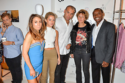 Left to right, LEXI ALEXANDER, LAUREN HUTTON, ALEXANDER STUART ceo of Collier Bristow,SOPHIE MACULLUM and CHRISTOPHER STUART at the launch for the collaboration of Joel Swimwear for Collier Bristow held at Collier Bristow, 61 King's Road, Chelsea, London on 11th August 2016.