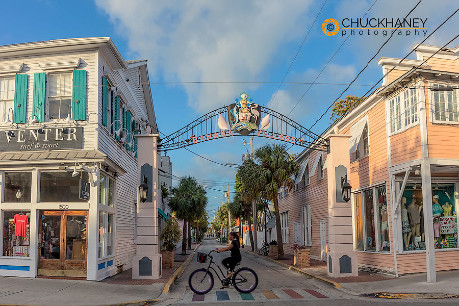 Bahama Village sign on Petronia Street in Key West, Florida, USA