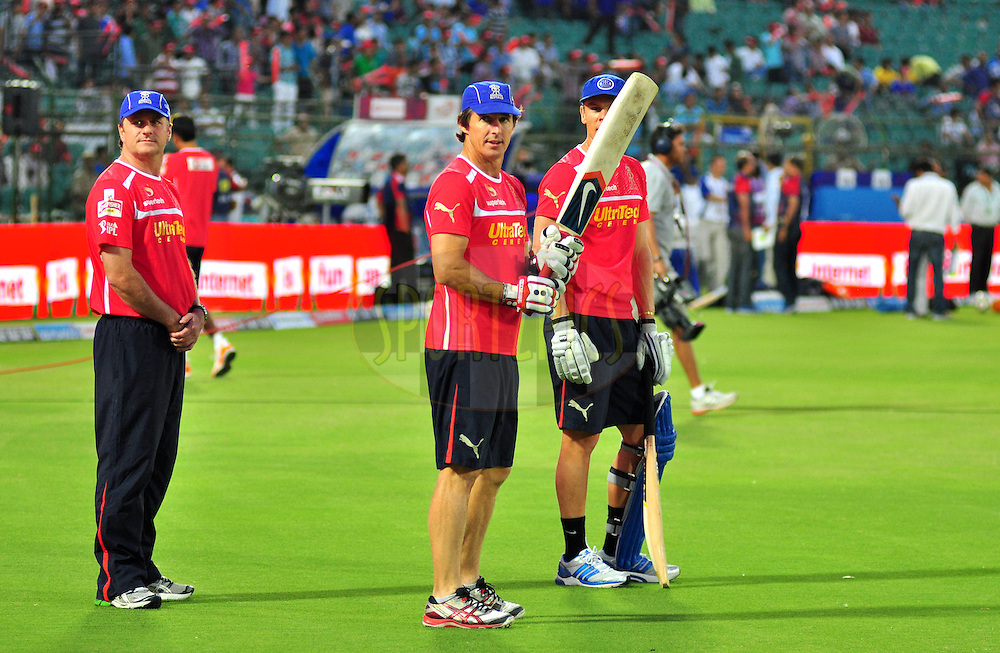 Rajasthan Royals Brad Hodge with team mates during match 43 of the the Indian Premier League ( IPL) 2012  between The Rajasthan Royals and the Delhi Daredevils held at the Sawai Mansingh Stadium in Jaipur on the 1st May 2012..Photo by Arjun Panwar/IPL/SPORTZPICS
