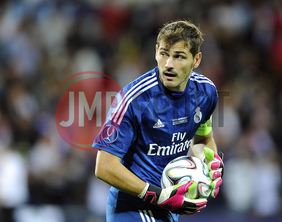 Real Madrid's Iker Casillas - Photo mandatory by-line: Joe Meredith/JMP - Mobile: 07966 386802 12/08/2014 - SPORT - FOOTBALL - Cardiff - Cardiff City Stadium - Real Madrid v Sevilla - UEFA Super Cup