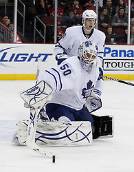 Feb 5, 2010; Newark, NJ, USA; Toronto Maple Leafs goalie Jonas Gustavsson (50) makes a save during the second period at the Prudential Center.