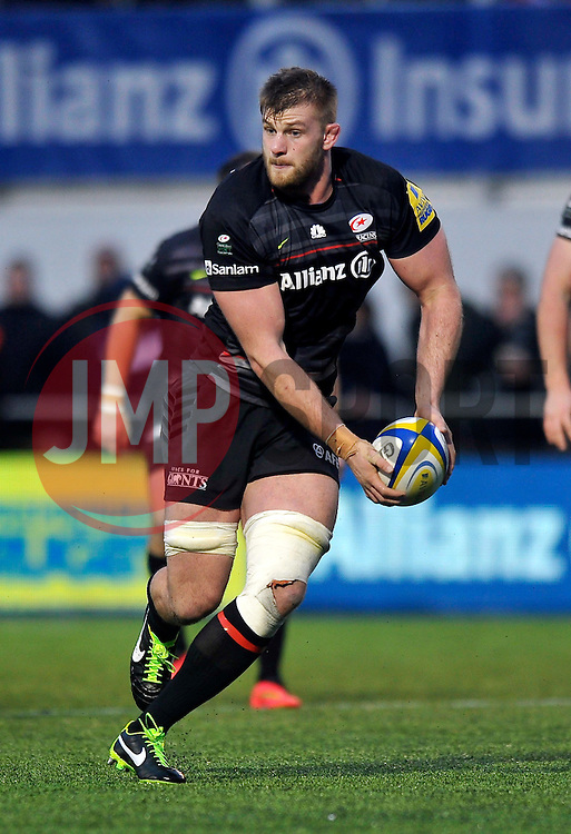 George Kruis of Saracens in possession - Photo mandatory by-line: Patrick Khachfe/JMP - Mobile: 07966 386802 03/01/2015 - SPORT - RUGBY UNION - London - Allianz Park - Saracens v London Irish - Aviva Premiership