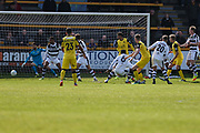 Southport's Robbie Cundy(24) shoots at goal scores a goal 1-0 during the Vanarama National League match between Southport and Forest Green Rovers at the Merseyrail Community Stadium, Southport, United Kingdom on 17 April 2017. Photo by Shane Healey.