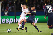 Polish forward Robert Lewandowski of Bayern Munich competes with Brazilian defender Thiago Silva of Paris Saint Germain during the UEFA Champions League, Group B football match between Paris Saint-Germain and Bayern Munich on September 27, 2017 at Parc des Princes stadium in Paris, France - Photo Jean Marie Hervio / Regamedia / ProSportsImages / DPPI