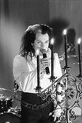 Dave Vanian from The Damned live, UK. 1980s.