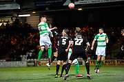 Yeovil Town's Jakub Sokolik heads the ball towards the Carlisle goal during the The FA Cup Third Round Replay match between Yeovil Town and Carlisle United at Huish Park, Yeovil, England on 19 January 2016. Photo by Graham Hunt.