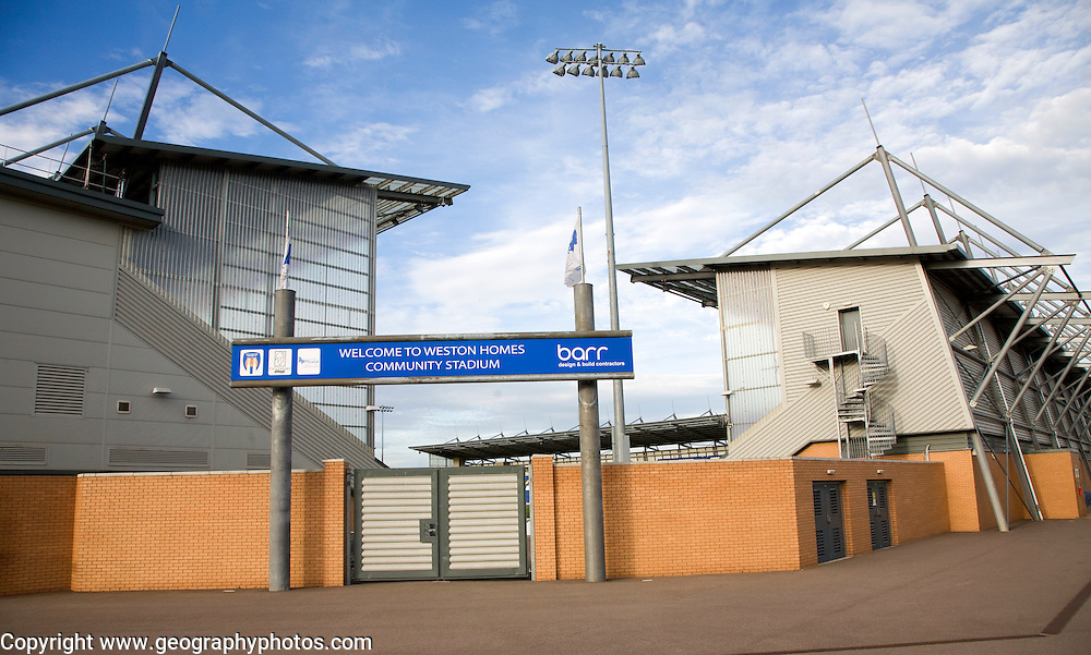 Colchester United football club at the Weston Homes Community stadium, Colchester, Essex, England