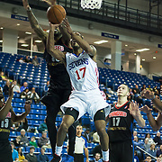 Delaware 87ers Guard Lorenzo Brown (17) drives towards the basket as Springfield Armor Forward Willie Reed (33) defends in the course of a NBA D-league regular season basketball game between the Delaware 87ers (76ers) and the Springfield Armor (Nets) Saturday, Dec. 28, 2013 at The Bob Carpenter Sports Convocation Center, Newark, DE