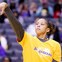 17 June 2014: Los Angeles Sparks forward/center Candace Parker (3) warms up prior to the Minnesota Lynx  94-77 victory over the Los Angeles Sparks, at the Staples Center, Los Angeles, California, USA.