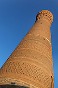 View from below of the Kalyan Minaret, 12th century, Bukhara, Uzbekistan, pictured on July 8, 2010 in the afternoon. The baked brick  minaret is 48 metres high and its diametre is 9 metres at the bottom and 6 metres at the top. Commissioned by Arslan Khan and designed by Bako its purpose was to summon Muslims to prayer. Bukhara, a city on the Silk Route is about 2500 years old. Its long history is displayed both through the impressive monuments and the overall town planning and architecture. Picture by Manuel Cohen.