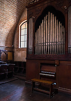 AREQUIPA, PERU - CIRCA APRIL 2014: Organ pipe in the church in the San Francisco Monastery in Arequipa. Arequipa is the Second city of Perú by population with 861,145 inhabitants and is the second most industrialized and commercial city of Peru.