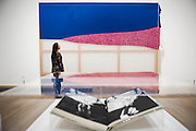 Season's Hottest Trend and Daphne (book) - Alibis a Sigmar Polke retrospective at the Tate Modern – he was viewed as one of the most experimental artists of recent times and the exhibition covers his full career, bringing together works from around the world in a huge variety of materials. Highlights include: Girlfriends – An iconic early Pop painting from 1965 of a bikini-clad girl; Potato House – Standing over 6 feet tall, this sculpture of a house is made from wooden lattices covered in real potatoes; Mao – A huge felt banner covered in scraps of cloth and painted with an image of Chairman Mao; Watchtowers – A series of neon-coloured paintings incorporating silver, resin, fabric and bubble-wrap; and other paintings made from such diverse materials as meteorite dust, soot, lead, coal, elastic bands and medical tape. The exhibition runs from 9 October 2014 – 8 February 2015.  Tate Modern, Bankside, London, UK 07 Oct 2014. Guy Bell, 07771 786236, guy@gbphotos.com.
