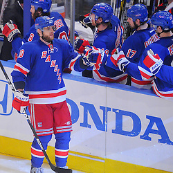 May 23, 2012: New York Rangers right wing Marian Gaborik (10) celebrates his game-tying goal at bench early during third period action in game 5 of the NHL Eastern Conference Finals between the New Jersey Devils and New York Rangers at Madison Square Garden in New York, N.Y.