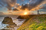 Yaquina Lighthouse at Sunset, near Newport Oregon.