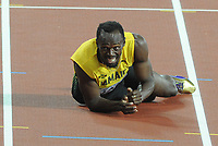 Athletics - 2017 IAAF London World Athletics Championship - Day Thirteen, Evening Session<br /> <br /> Men's 4 x 400m Relay Final<br /> <br /> Usain Bolt of Jamaica falls to the ground in the home straight with a leg injury at the London Stadium.<br /> <br /> COLORSPORT/ANDREW COWIE