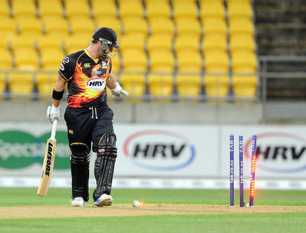Wellington Firebirds Travis Birt looks back at his wicket after being bowled by Central Stags Doug Bracewell in the HRV T20 cricket match at Westpac Stadium, Wellington, New Zealand, Friday, November 22, 2013. Credit:SNPA / Ross Setford