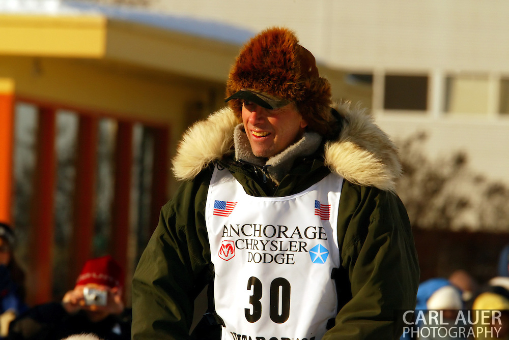 3/3/2007:  Anchorage Alaska -  Veteran Ed Iten of Kotzebue, AK during the Ceremonial Start of the 35th Iditarod Sled Dog Race