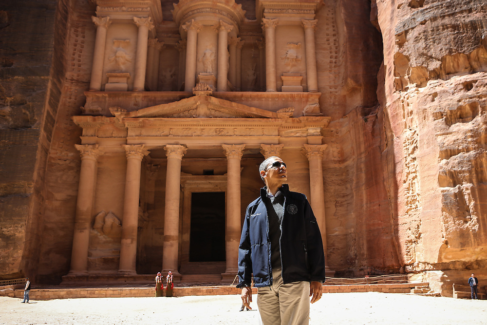 U.S. President Barack Obama stands in front of The Treasury in the ancient city of Petra during his visit to Jordan. <br /> 23rd March 2013