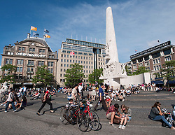 View of Dam Square in summer in central Amsterdam , The Netherlands