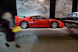 "© Licensed to London News Pictures. 14/11/2017. London, UK.  A Ferrari F40, 1987, built to celebrate the 40th anniversary of Ferrari.  Preview of ""Ferrari: Under the Skin"", an exhibition at the Design Museum to mark the 70th anniversary of Ferrari.  Over GBP140m worth of Ferraris are on display from private collections including Michael Schumacher's 2000 F1 winning car.  The exhibition runs 15 November to 15 April 2018.  Photo credit: Stephen Chung/LNP"