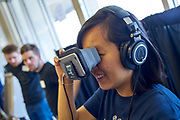 Xuying Ko experiences a crime simulation game presented in VR.