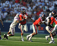 Ole Miss' Randall Mackey (1) runs at Vaught-Hemingway Stadium in Oxford, Miss. on Saturday, September 1, 2012.