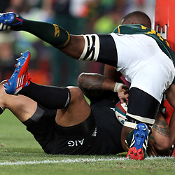 JOHANNESBURG, SOUTH AFRICA - OCTOBER 05: Siya Kolisi of South Africa holds up  Ma'a Nonu of the All Blacks during The Rugby Championship match between South Africa and New Zealand at Ellis Park on October 05, 2013 in Johannesburg, South Africa. (Photo by Steve Haag/Gallo Images)